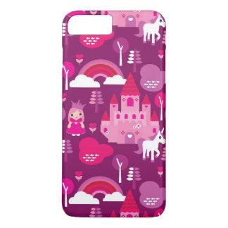 Coque iPhone 7 Plus château de princesse et arc-en-ciel de licorne