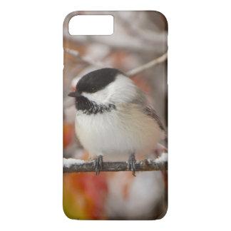 Coque iPhone 7 Plus Chickadee Noir-couvert par adulte dans la neige,