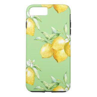 Coque iPhone 7 Plus Citrons jaunes sur vert clair