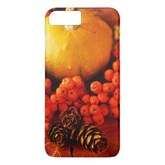 Coque iPhone 7 Plus Citrouilles moissonnés avec le feuille de chute