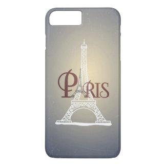 Coque iPhone 7 Plus Conception bleue vintage élégante de Paris de Tour