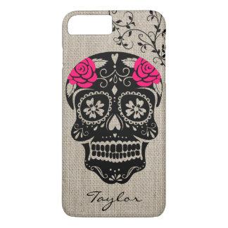Coque iPhone 7 Plus Crâne personnalisé de sucre de hippie