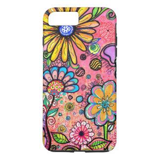 Coque iPhone 7 Plus Dessin psychédélique coloré de fleur