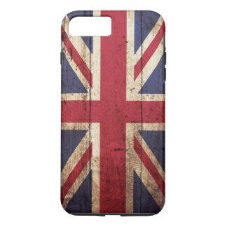 Coque iPhone 7 Plus Drapeau de l'Angleterre sur le vieux grain en bois