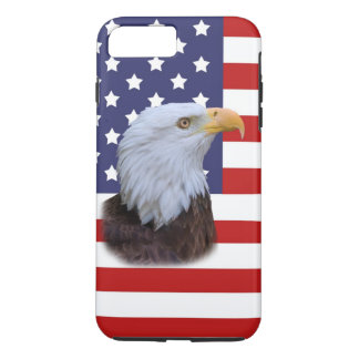 Coque iPhone 7 Plus Eagle patriotique et drapeau des Etats-Unis