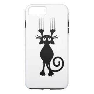 Coque iPhone 7 Plus Éraflure mignonne de chat noir de bande dessinée
