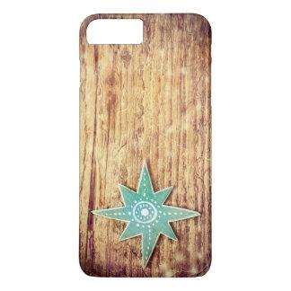 Coque iPhone 7 Plus Étoile de Noël sur l'arrière - plan en bois de