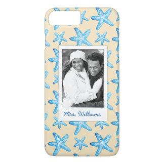 Coque iPhone 7 Plus Étoiles de mer bleues d'aquarelle   votre photo et