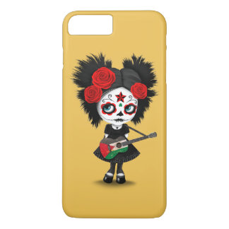 Coque iPhone 7 Plus Fille de crâne de sucre jouant la guitare