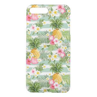 Coque iPhone 7 Plus Fleurs et ananas tropicaux sur les rayures