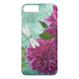 Coque iPhone 7 Plus Fleurs pourpres de dahlia de plat de dîner de la