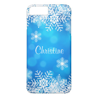 Coque iPhone 7 Plus Flocons de neige blancs chics de Noël bleu