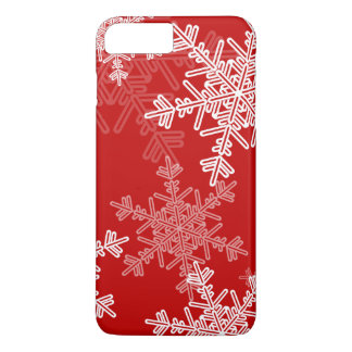 Coque iPhone 7 Plus Flocons de neige mignons de Noël rouge et blanc