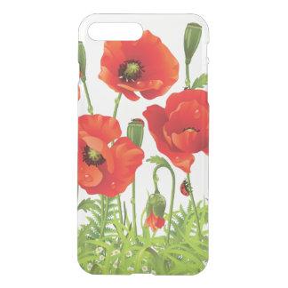 Coque iPhone 7 Plus Frontière horizontale avec le pavot rouge