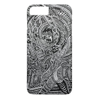 Coque iPhone 7 Plus Griffonnage fou tribal abstrait tiré par la main