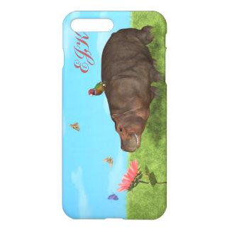 Coque iPhone 7 Plus Hippopotame heureux, fleur, papillons, monogramme