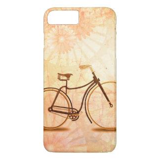 Coque iPhone 7 Plus Jolie pêche vintage de bicyclette de sépia florale