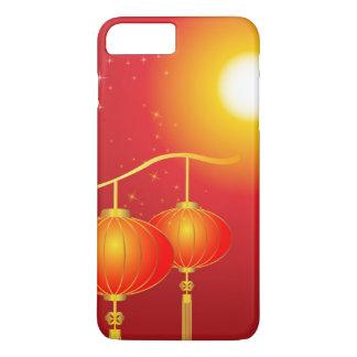 Coque iPhone 7 Plus Lampions rouges chinois avec la pleine lune