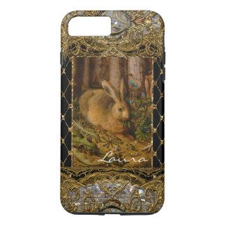 Coque iPhone 7 Plus Lapin de Lil dans le monogramme élégant de jardin
