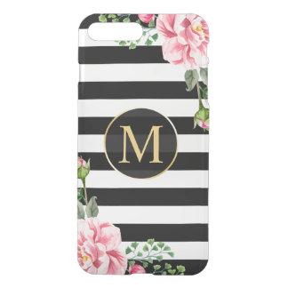 Coque iPhone 7 Plus Le blanc floral moderne de noir de décor barre le