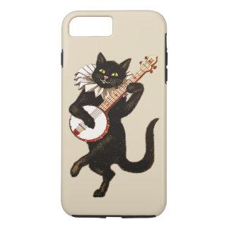 Coque iPhone 7 Plus Le chat noir aux yeux verts vintage joue un banjo