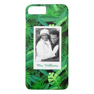 Coque iPhone 7 Plus Le feuille de la paume tropicale   ajoute votre