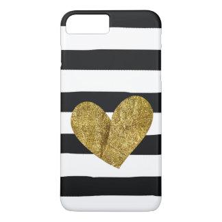 Coque iPhone 7 Plus Le noir barre le coeur d'or