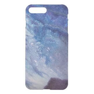 Coque iPhone 7 Plus L'eau blanche bleue triste de vague de peinture