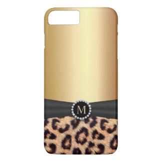 Coque iPhone 7 Plus Léopard moderne de monogramme d'or