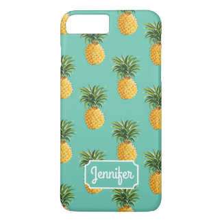 Coque iPhone 7 Plus Les ananas tropicaux sur Teal | ajoutent votre nom