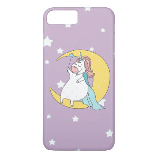 Coque iPhone 7 Plus Licorne mignonne de magicien se reposant sur la