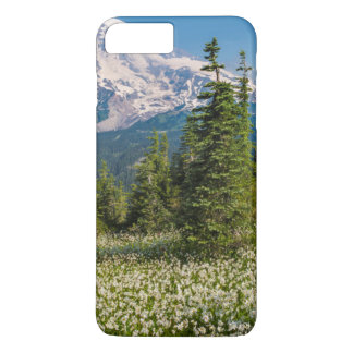 Coque iPhone 7 Plus Lis d'avalanche et mont Rainier