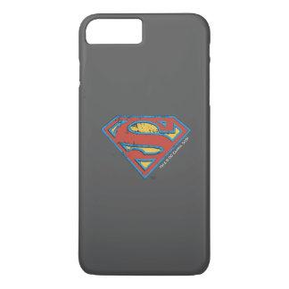 Coque iPhone 7 Plus Logo bleu de grunge d'ensemble du S-Bouclier   de