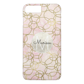 Coque iPhone 7 Plus Monogramme abstrait de cercles roses d'aquarelle