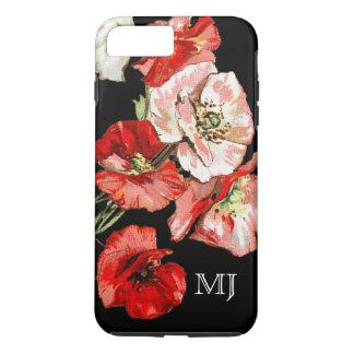 Coque iPhone 7 Plus Monogramme de fleur sauvage de pavot
