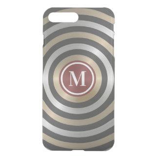 Coque iPhone 7 Plus Monogramme frais de motif de rayure d'or d'argent