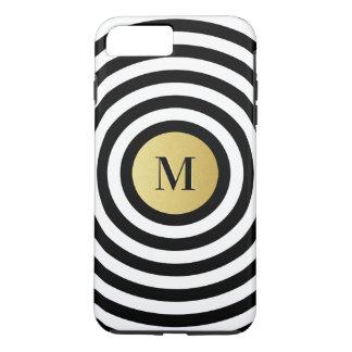 Coque iPhone 7 Plus Monogramme frais d'or de motif de rayure de noir
