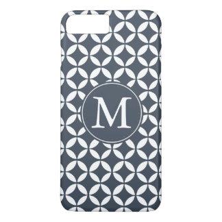 Coque iPhone 7 Plus Monogramme géométrique blanc de cercles de marine
