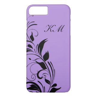 Coque iPhone 7 Plus Monogramme pourpre floral chic