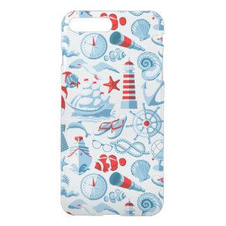 Coque iPhone 7 Plus Motif blanc et bleu rouge nautique