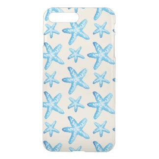 Coque iPhone 7 Plus Motif bleu d'étoiles de mer d'aquarelle