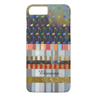 Coque iPhone 7 Plus motif coloré de notes et de rayures de musique