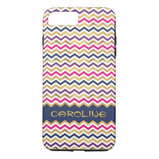Coque iPhone 7 Plus Motif coloré frais de Chevron avec le nom
