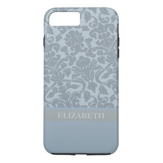 Coque iPhone 7 Plus Motif de damassé avec le monogramme - bleu