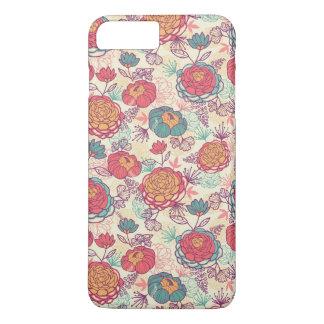 Coque iPhone 7 Plus Motif de fleurs et de feuille de pivoine