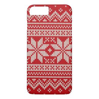 Coque iPhone 7 Plus Motif de tricot de chandail de Noël - ROUGE
