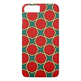 Coque iPhone 7 Plus Motif géométrique arabe égyptien en rouge et le