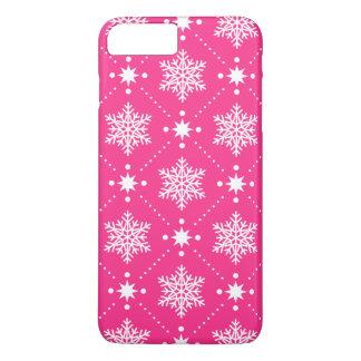 Coque iPhone 7 Plus Motif rose et blanc Girly de Noël de flocons de