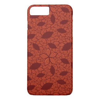 Coque iPhone 7 Plus Motif rouge de feuille sur l'orange