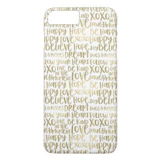 Coque iPhone 7 Plus Mots inspirés d'or